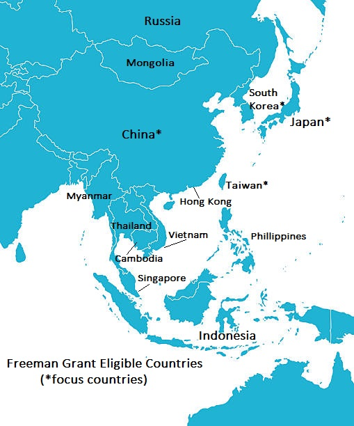 Map Of Asia For Students.Freeman Internships In East Asia Croft Institute For International
